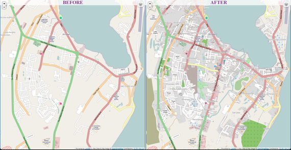 A part of the city of Tacloban before and after it was mapped by the Humanitarian OSM Team. Roads, buildings, and bodies of water were missing before volunteers added them.