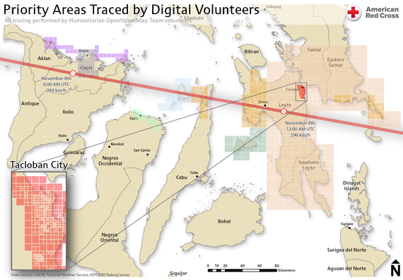 The red line shows the path of super typhoon Haiyan and the colored patches show where volunteers made additions to OpenStreetMap this weekend. Notice the extent of the edits in Tacloban, a city of more than 220,000 that bore the brunt of the storm. (American Red Cross)