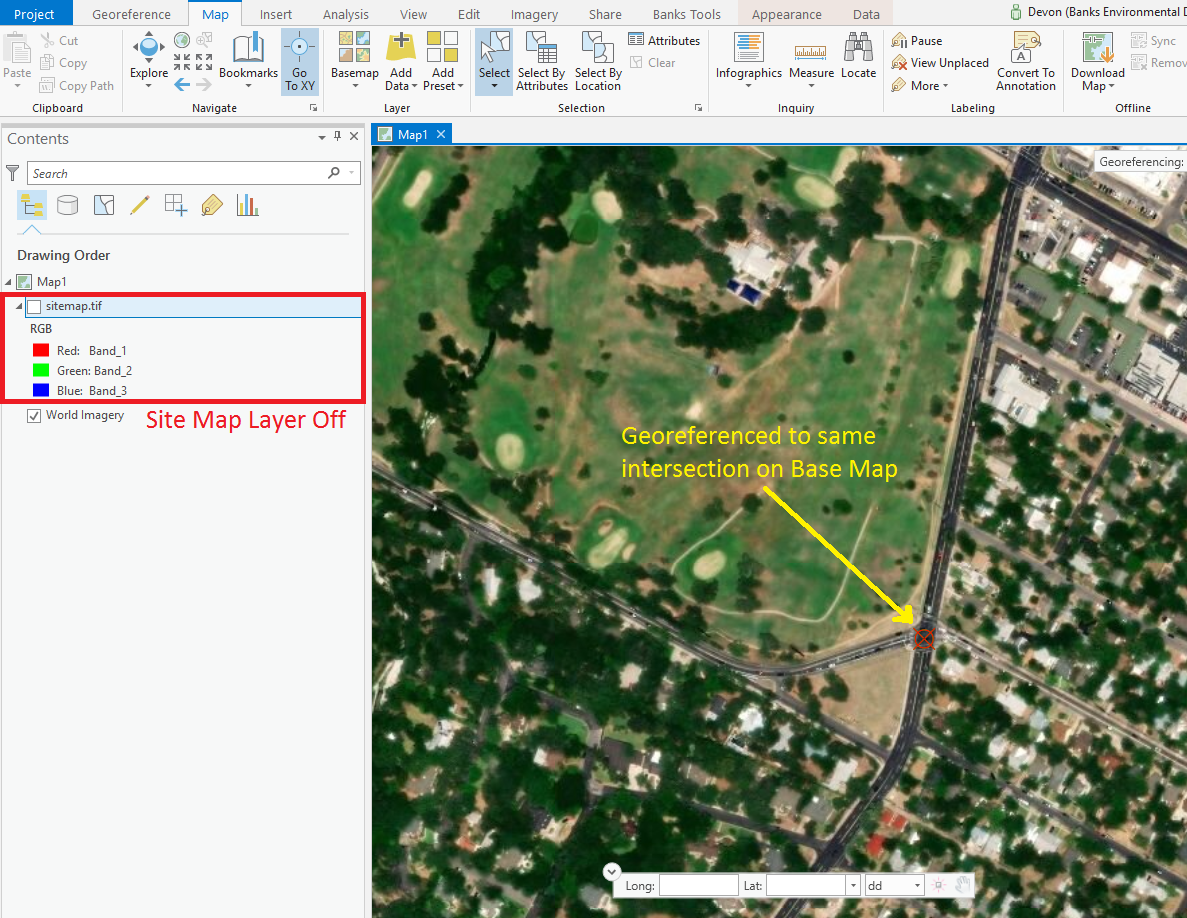 Georeferencing a site map in ArcGIS Pro   Environmental Prose