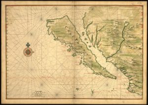 Map of California shown as an island ca. 1650 - https://www.loc.gov/item/99443375/