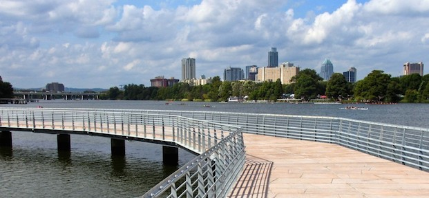 A section of the new boardwalk overlooking downtown Austin.